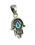 Silver and Opal Drop Hamsa Pendant