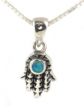Silver and Opal Necklace   Hamsa