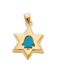 Gold Filled Star of David Turquoise Hamsa Pendant