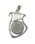 Sterling Silver Lyre Pendant with zirconium