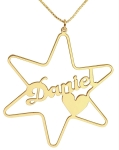 Gold Filled Cursive English Name Necklace   Star of David