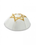 White Satin Kippah With Golden Star Of David