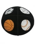 Black suede Kippah with sports symbols