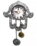 Hamsa Clock with Hebrew Letters and Jerusalem Motif
