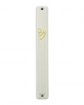 White Plastic Mezuzah with rubber plug