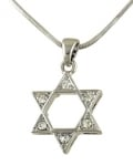 Rhodium Star of David Pendant Necklace with stones