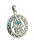 Round Silver and Opal center Hamsa Pendant