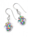 Small Mosaic design Hamsa Earrings