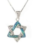 Sterling Silver Opal Star of David Pendant
