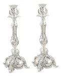 Silver Plated with Floral Pattern Candlesticks