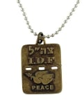 Israeli Army Dog Tag Bronze Pendant   Dove of Peace