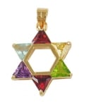 Gold Filled Multicolor Star of David Pendant