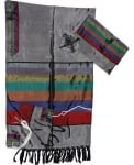 Gabrieli Silk Tallit Set    Gray and Multicolor Wide Stripes