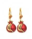 Gold Filled Pomegranate Garnet Drop Earrings