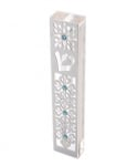 Pomegranate & Flower Design Mezuzah Case by Dorit  Stainless Steel