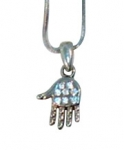 Rhodium Silver Necklace set with white stones Hamsa pendant