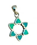 Silver and Opal Star of David with Hearts Pendant