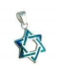Silver and Opal Braided Star of David Pendant