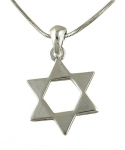 Rhodium Classic Star of David Necklace