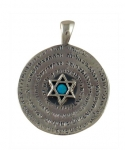 Silver and Opal Star of David in circle Pendant