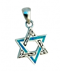 Etched Silver and Opal Star of David Pendant