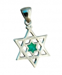 Star of David inside Star of David Silver Opal Pendant