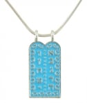 Light blue Ten Commandment Rhodium Pendant