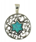Silver and Opal Star of David Necklace