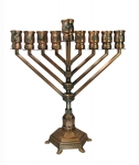 Habbad Design Hanukah Menorah   Copper