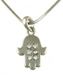 Rhodium Hamsa Necklace with white stones