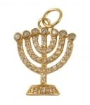 Gold Filled Zirconium Seven Branch Menorah Pendant