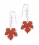 Grape Leaf Earrings   Coral