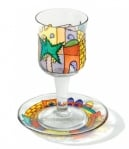 Painted Wineglass and Saucer