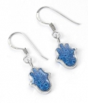 Small Blue Hamsa Earrings