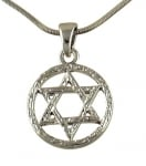 Rhodium Circle Star of David Necklace