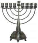 Pewter Hanukah Menorah   Waves