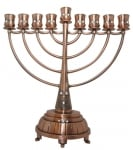 Classic Copper Hanukah Menorah with white stones