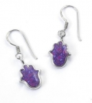Small Purple Hamsa Earrings