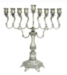 Diamond Hanukah Menorah   Pewter