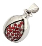 Gold Filled Rhodium Pomegranate Garnet Drop Pendant