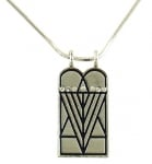 Rhodium Ten Commandments Menorah Pendant with Chain