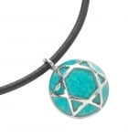 Turquoise Round Star of David on Leather Cord Necklace
