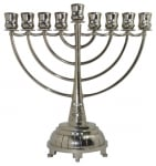 Nickel Hanukah Menorah   White Stones