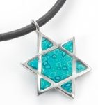 Turquoise Star of David on Leather Cord Necklace