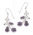 Purple Kahlo Flower Earrings