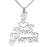 Silver English Name Necklace   I Love You