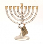 Pewter Hanukkah Menorah   Star of David