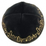 Black velvet kippah with gold Jerusalem design