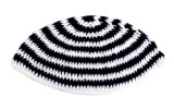 White and Black Striped Frik Kippah