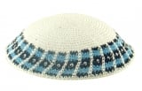 White handmade knitted kippah With Grey And Black Border